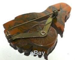 STUNNING RARE Vintage BAKELITE End of Day Floral Flower Brooch Pin