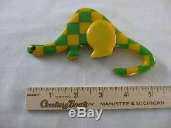 Shultz Large Bakelite Brooch Pin Dinosaur Laminated from Vintage Bakelite Dice