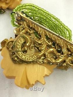 Spectacular Vintage MIRIAM HASKELL Green Pin Brooch Carved Bakelite Moon Mark