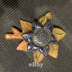 Stunning Vintage Carved Bakelite Apple Juice Navy Flower Brooch Pin Immaculate