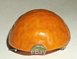 TANGY & LARGE Densely Carved LEMON Vtg Bakelite FRUIT PIN BROOCH