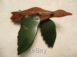 THE BEST & BIGGEST Vintage CANADIAN GOOSE Flying BAKELITE & Wood PIN BROOCH