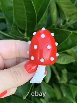 Trifari brooch Mushroom Bakelite Red & White dots Vintage 1950-1960s Rare Pin