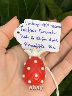 Trifari brooch Pineapple Bakelite Red & White dots Vintage 1950s-1960s Rare Pin