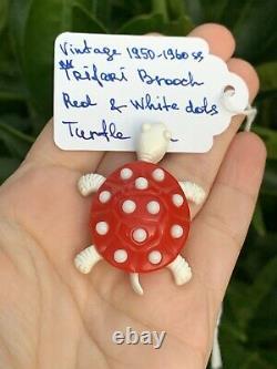 Trifari brooch Turtle Bakelite Red & White dots Vintage 1950-1960s Rare Pin