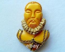 Ultra Rare Stunning Vtg Figural Bakelite Pin/brooch