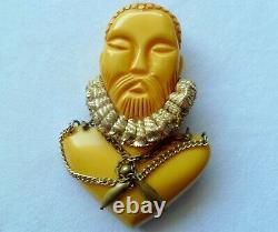 Ultra Rare Stunning Vtg Figural Chinaman Bakelite Pin/brooch