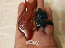 Unique vintage bakelite fish pin brooch