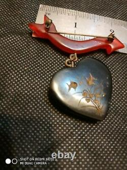 Unique vintage bakelite heart pin brooch reversed carved fish