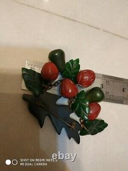 Unique vintage bakelite strawberry and western pear pin brooch