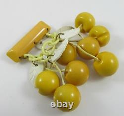 Unusual Vintage Bakelite Carved Yellow Cherries Dangling Pin Brooch