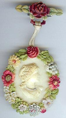 Unusual Vintage Celluloid Summer Colors Dimensional Flowers Hanging Cameo Pin
