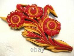 VERY RARE 4.25 Vintage CAST CARVED 3 Color BAKELITE FLOWER Pin BROOCH