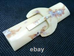 VINTAGE 1930s BAKELITE BROOCH LAPEL PIN RECTANGLE ART DECO IVORY COLOR PLASTIC