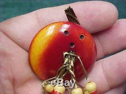 VINTAGE ART DECO BAKELITE BOWLING BALL Dangling 10 PINS PIN Brooch 1930's 1940's