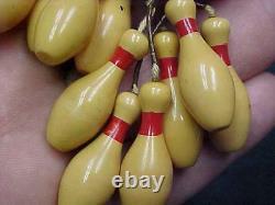 VINTAGE ART DECO BAKELITE BOWLING BALL Dangling 10 PINS PIN Brooch 1930's 1940's