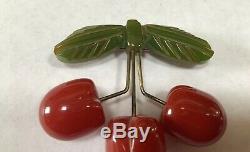 VINTAGE BAKELITE AND METAL 3 RED CHERRY & LEAF PIN 2 1/2 w
