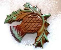 VINTAGE BAKELITE ART DECO SCOTTISH THISTLE BROOCH PIN Scottish Scottland C clamp
