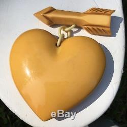 VINTAGE BAKELITE & Celluloid PIN BROOCH Carved HEART AND ARROW Butterscotch 3.5