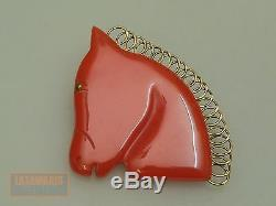 VINTAGE BROSCHE PFERDEKOPF RED BAKELIT GALALITH BROOCH HORSE HEAD 1920s PIN