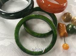 VINTAGE Bakelite Bangle Bracelet Lot + Shoe Clips and Pin Green & Caramel
