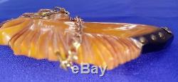 VINTAGE Bakelite Horse Pin Butterscotch 3 X 2 5/8 Carved Glass Eye Brass Studs