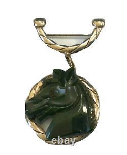 VINTAGE GREEN BAKELITE HORSE HORSESHOE SILVER PIN BROOCH 2 3/4 l