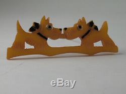VINTAGE-KISSING SCOTTIE DOGS BAKELITE PIN, c. 1930'S 3 1/4 LONG x 1 1/8 WIDE