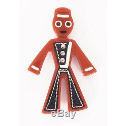 VINTAGE PRADA 2005 RUNWAY Red Bakelite & Leather Inset Sailor LARGE Pin BROOCH