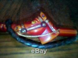 VINTAGE RARE BAKELITE HORSE HEAD EQUESTRIAN RIDING CROP BROOCH PIN about 3 1/4