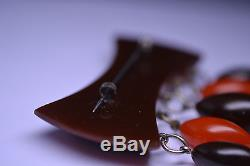 VINTAGE SIMICHROME TESTED LAYERED BROWN & CARAMEL BAKELITE PIN With 5 DANGLES