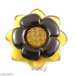 VIntage 1930s 40s Carved Two Tone Black & AJ Bakelite FLOWER Design Brooch PIN