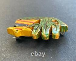 VTG 1930s Bakelite Mexican & Cactus Hand Painted Brooch Pin Southwest Scene