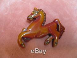 VTG 1930s CARVED BAKELITE HORSE PIN Brooch withTINY STUDS Excnt Cond