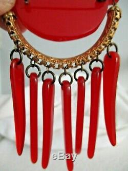 VTG- BAKELITE- 1930s MODERNIST PIN BROOCH CHERRY RED DANGLES MOVES-3 3/4