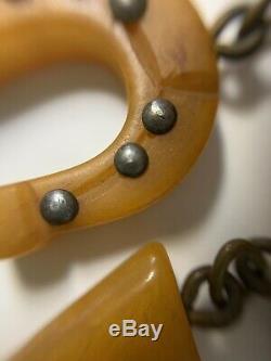 VTG Bakelite Butterscotch Racing Horse Head Pin Brooch withBoots&Shoe Dangles