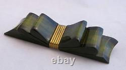 VTG Bakelite Chunky 2 Color Black&Green Laminate Figural Bow with Brass Pin Brooch