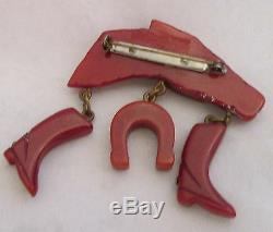 VTG Bakelite Deep Rust Butterscotch Overdye Figural Racing Horse Pin & Dangles