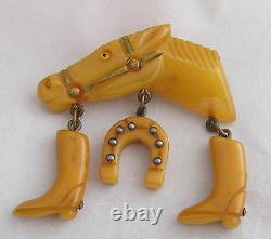 VTG Bakelite Light Butterscoth Racing Horse Head withBoots&Shoe Dangles Pin Brooch