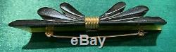 VTG Bakelite Ribbon Hinged Bracelet, Brooch Pin, dress scarf clips, earrings