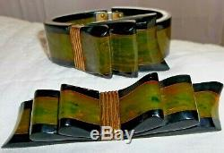 VTG Bakelite Ribbon Hinged Bracelet, Brooch Pin, dress scarf clips, earrings EUC