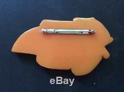 VTG Bakelite Tested Carved Large Butterscotch Leaf Brooch / Pin-3 X 2
