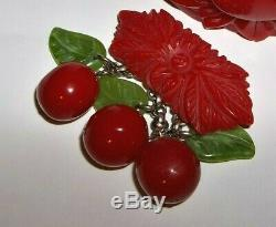VTG Cherry Red Carved Bracelet Lucite & Bakelite -Brooch Pin Dress Scarf Clip