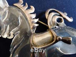 VTG Clear Lucite Jelly Belly Horse Pony w Sterling Silver Mane Tail Saddle Pin