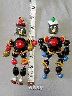 VTG PAIR of African Style Male Female ANKA BAKELITE Jointed Figure Pin Brooches