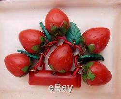 VTG Rare Red Bakelite Six Strawberries Strawberry Green Leaves Dangle Pin Brooch
