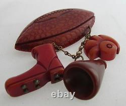 VTG Unusual Bakelite Dangle Pin Brooch Football Helmet Megaphone Boot