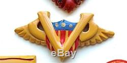 V For Victory Exquisite Bakelite Vintage 1940s Brooch Pin Rare