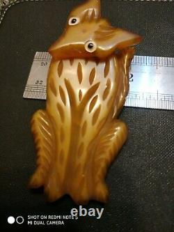 Very rare huge vintage amber bakelite fox wolf pin brooch movable head
