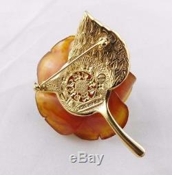 Very rare vintage Nettie Rosenstein Bakelite rose rhinestone pin brooch, signed